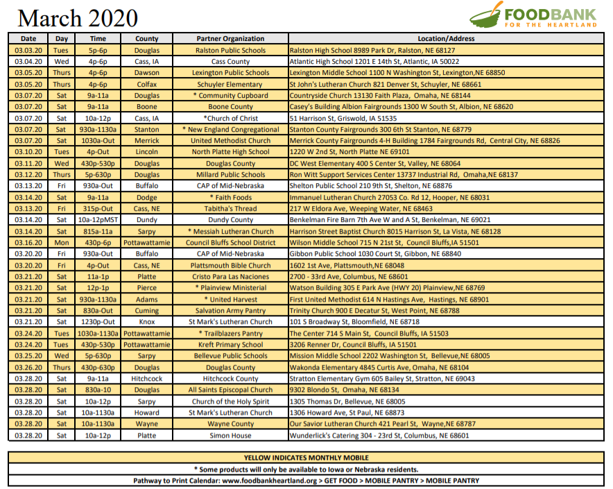 Food Bank for the Heartland dates, times and locations