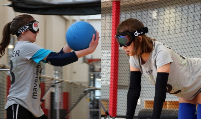 Image of two girls playing goalball